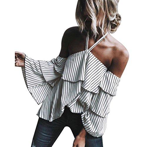 YunYoud Damen Reizvoller Hängender Hals Aus Schulter Shirt Kleider Frau Beiläufig Lose Gestreift T-Shirt Mode Lange Ärmel Lotus faltet sich Tops Bluse (XL, Weiß) (Bestickt Langen T-shirt Ärmeln)