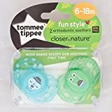 Tommee Tippee Closer To Nature Moda: 2 x Schnuller 6-18m (Blau / Grün)