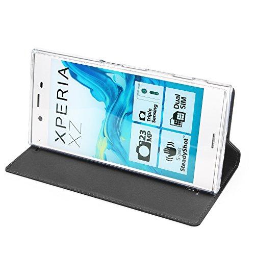 Sony Xperia XT Premium Case Cover, eastcoo Ultra Slim Dünn PU Leder Folio Flip Schutzhülle mit Magnetisch Kartenhalter Ständer TPU Hülle Case Klar für Sony Xperia XT Premium, plastik, schwarz, XZ schwarz