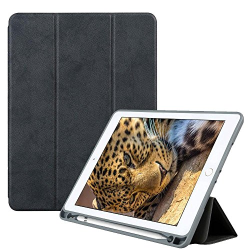 Price comparison product image Teepao New IPad 9.7 Case 2018 with Pencil Holder, Flexible Soft TPU 6th Generation Case Slim-Fit Trifold Stand Folio Smart Cover for the New 9.7 Inch Apple IPad 2018