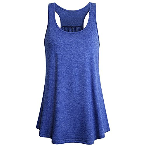 l Crew Neck T-Shirt Summer ÄRmelloses Sport Yoga Solid Flowy Racerback Tank Bluse Top Weste T-Shirt Casual Blouse ()