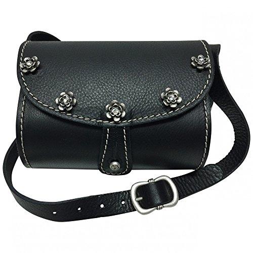 Trachtentasche Dirndl-Handtasche Trachten-Tasche Ledertasche schwarz, versilbert (Purse Handtasche Fell Bag)