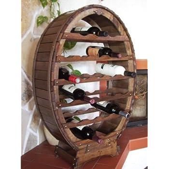 Scaffale vini Botte-vino per 24 Bottiglie verniciatura marrone Bar Supporto bottiglie Botte Porta bottiglie