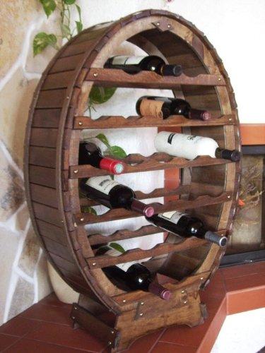 DanDiBo Weinregal Weinfass aus Holz für 24 Flaschen Braun gebeizt Bar Flaschenständer Weinständer...
