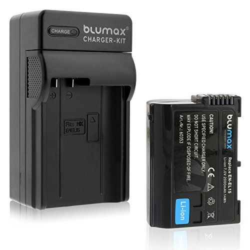 Blumax EN-EL15 2000mAh + Ladegerät EN-EL15   Passend zu DSLR D7200 D750 D500 D7000 D800 D810 D810e D600 D610 D7100 D850 D7500 (Akku-ladegerät D7000)
