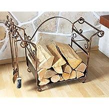 Scaffale per legna da camino con attizzatoio Art.183 Porta-legna da camino 77cm Cesto per legna Set-camino