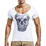 Hiroo Uomo Camicia T-shirt Maglia a Manica Corta/T Shirt Uomo Manica Corta/Maglione da Uomo/scheletro stampa slim fit manica girocollo/T-shirt girocollo/Estate in alto (M, Bianco)
