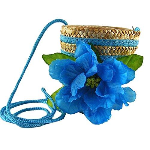 Nuovo Sveglio Di Tessitura Di Paglia Dono Fiore Piccola Borsa Spalla Crossbody Mini Bag Blu