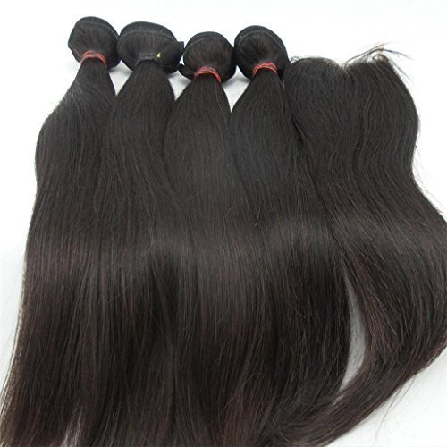 LaNova Beauty Cheap Human Hair Extensions,Sliky Straight Hair Extention 4pcs Mix Size 10+12+14+16inch and 1pc Lace Closure (4*4) 10inch, Natural Color,5pcs/lot,Human Hair Top Piece by LaNova Beauty