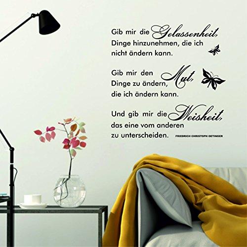 greenluup Wandtattoo Spruch Sprüche gib mir die Gelassenheit, Dinge hinzunehmen, die ich nicht ändern kann... Wohnzimmer Küche Schlafzimmer