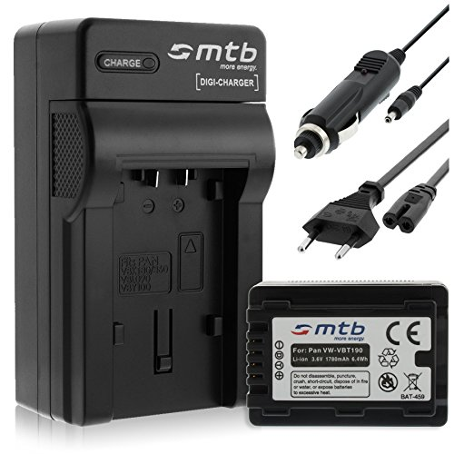 Batteria + Caricabatteria (Auto/Corrente) per VW-VBT190 / Panasonic HC-VX989... / HC-W570, W850, WX979... v. lista! con Infochip - Twin Cam Auto