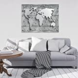 FORWALL Glasbild Glasfoto Echtglas Wandbild Beton und Metall Weltkarte G5 (80cm. x 60cm.) AMFGT10420G5 Weltkarte Landkarte Welt Erde Kontinente Imitation