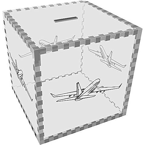 Large 'Jumbo Jet' Clear Money Box / Piggy Bank (MB00012778)