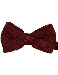 Double couche noeud papillon pré attaché tricoté Bordeaux unie costume de fête, mariage