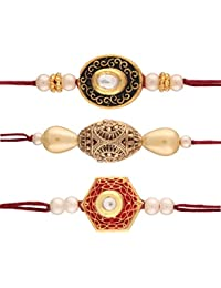 I Jewels Gold Plated Pearl and Stone Studded Set of 3 Rakhi for Beloved Brother (R628CO)