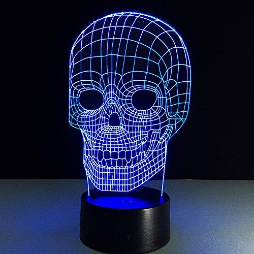 Lampara holografica 3D calavera multicolor 7 colores diseño hiper friki regalo perfecto y toque de luz tenue en nuestra habitacion de CHIPYHOME