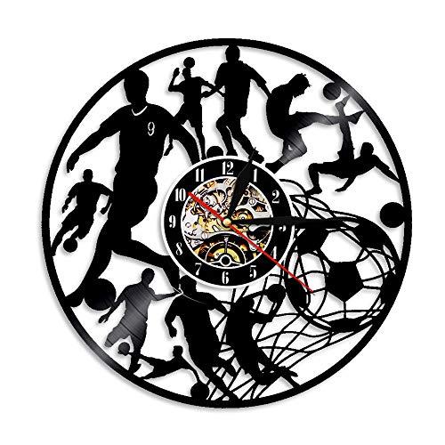 BLACK ELL Geburtstagsgeschenk Spielen Fußball Vinyl Rekord Uhr Uhr Dekor Fußball Wohnzimmer Moderne Schlafzimmer Dekoration Raumdekor Kunst handgefertigte Geschenke