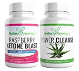Raspberry Ketones and Colon Cleanse Detox Combo 120 Diet Supplements for Weight Loss Raspberry Ketone Blast and Power Cleanse with Aloe Vera UK Manufactured Supplement