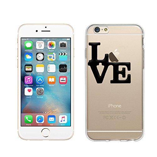 wortek Designer High Quality TPU Silikon - Case Schutzhülle Transparent mit Logo Motiv für Apple iPhone 6 / 6S (Schmetterling 1) Love