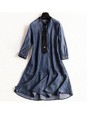 serpentinas camisa de vestir falda de mezclilla delgada de manga corta cuello redondo escote de moda 2017 , denim...