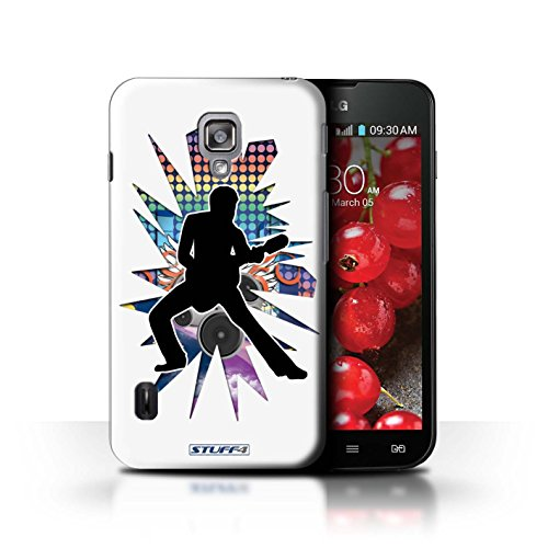 Kobalt® Imprimé Etui / Coque pour LG Optimus L7 II Dual / Elvis Noir conception / Série Rock Star Pose étendre Blanc
