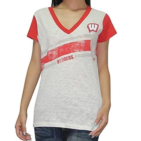 NCAA Wisconsin Badgers femmes V-Neck T-Shirt (Vintage Look) Large Beige & Red