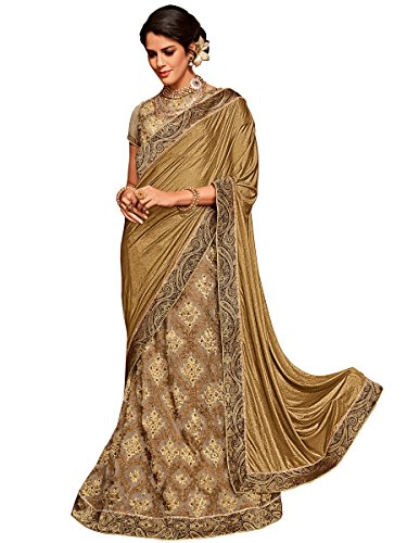 Indian Women golden and beige color Net & jacquard border lehenga saree
