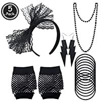80s Accessories Set - Women 80s Fancy Dress Outfit Costume Neon Earrings Leg Warmers Lace Bow Headband Fishnet Gloves Bead Necklaces For Girls Ladies Night Out 80s Party
