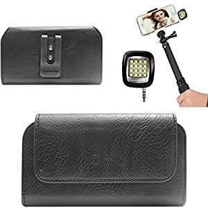 DMG Premium PU Leather Cell Phone Pouch Carrying Case with Belt Clip Holster for Sony Xperia M2 (Black) + 3.5mm Continuous LED Spotlight Flash