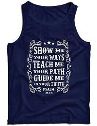 lepni.me Camisetas de Tirantes para Hombre Salmo 25: 4-5, Religión