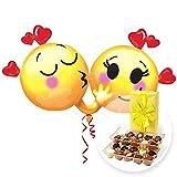 Riesenballon Emojis in Love und Belgische Pralinen