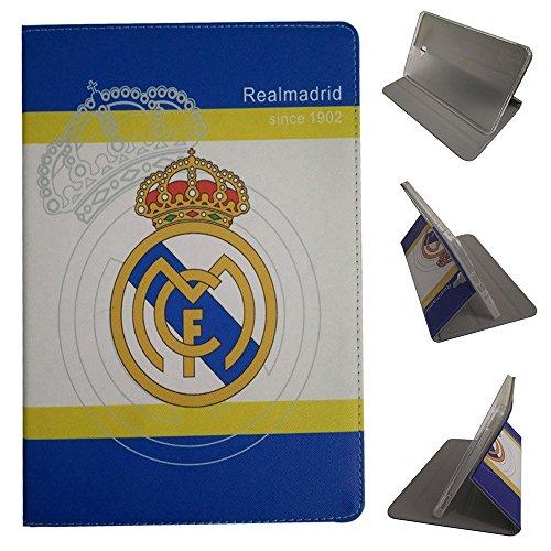 Galaxy Tab A 9.7 Fundas,Real Madrid Barcelona Chelsea AC Milan Liverpool Arsenal Football Équipe Voltear Cuero De la PU Funda para Samsung Galaxy Tab A 9.7-Pulgadas SM-T550/T551/T555 (Real Madrid)