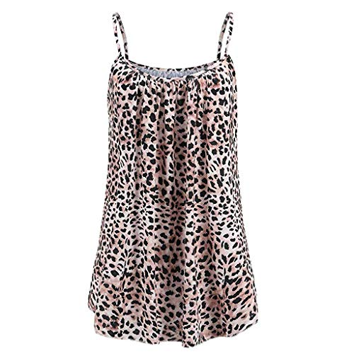 Schwarze Spitze Mit Rüschen Korsett (KIMODO Damen Lose ärmellose Tank Top Leopard-Drucken Camisole Weste Plus Size T-Shirt Bluse Sommer Oberteile Große Größen)