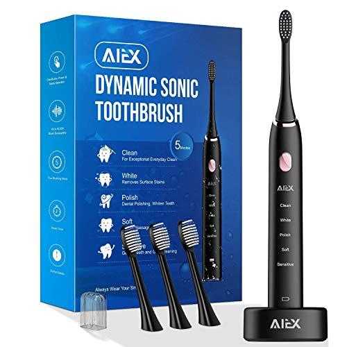 AIEX Elektrische Schallzahnbürste Wiederaufladbare elektronische Zahnbürste mit Halter Schwarze Reisezahnbürste mit 5 Modi/IPX7 wasserdicht/USB Ladestation/Smart Timer/Reisetasche/3 Aufsteckbürste