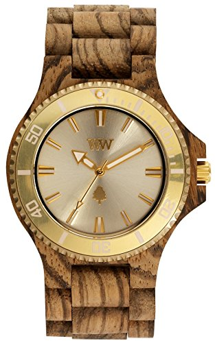 WEWOOD Date MB Zebrano Rough Gold - Orologio uomo