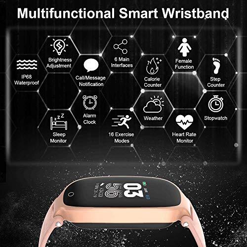 Imagen de agptek pulsera actividad inteligente, reloj inteligente con pantalla en color, gps, pulsómetro, 16 modos de deporte, monitor de sueño para mujer, rosa alternativa