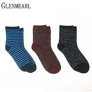 LILIKI@ 5 Paare/Los Glitter Baumwolle Frauen Socken Lurex Frühling Herbst Striped Kompression Marke Shiny Strumpfwaren Kurze Knöchel Weibliche Socken