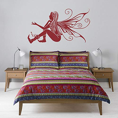 jiushizq DIY Vinyl schöne fee Blume Kinder dekor Aufkleber wandaufkleber mädchen Aufkleber wandkunst Engel tapeten wohnkultur schwarz l 124x70 cm
