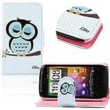 tinxi� Kunstleder Tasche f�r HTC Desire S G12 Tasche Schutzh�lle Flipcase Case Cover Schale Etui Skin Standfunktion mit Karten Slot schlafs�chtige Eule Owl