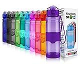 HoneyHolly Sport Trinkflasche - 17oz / 500ml - BPA frei dicht und umweltfreundlich - Für Gym, Laufen, Yoga, Camping, Outdoor, Männer, Frauen & Kinder - One Handed Open & Tritan Trinkflaschen aus Kunststoff mit Filter (0.5 Liter, Glossy Dunkelviolett)