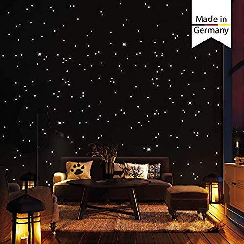 Cielo di loft wandtattoo 350 fluorescente punti luce e stelle luminose - autoadesivo 150 + 200 punti) - adesivo da parete con lungo luminosità, ideale per cameretta bambini camera letto