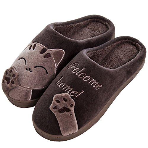 (Rojeam Damen Mädchen Nette Katze Tier Charakter Hausschuhe Slip on Neuheit Plüsch Warme Hausschuhe Weihnachten Halloween Geschenk Damenschuhe Größe UK 3-8)
