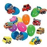 Stillshine 10 Pcs Oeufs de Pâques Remplis avec Mini Pull Back Véhicules , Camion de Pompiers MilitaireVoiture de Police Véhicule de Construction, Pâques Jouets pour Enfants
