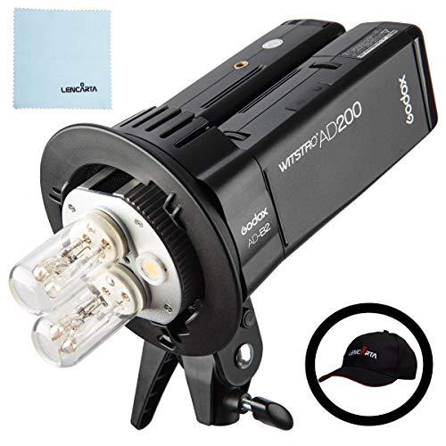 Godox Witstro AD200 2,4 G TTL HSS-Blitzlicht 1 / 8000s Tragbare Taschenbatterie mit Blitzlicht Monolight Dual Head 400Ws Kit | Speedlite Flash Fresnel nackte Glühlampe mit Blitzlicht Monolight Studio Kit
