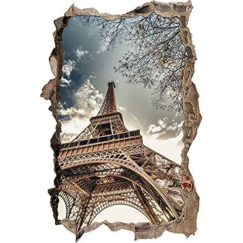 enorme muro svolta Torre Eiffel a guardare 3D, parete o in formato adesivo porta: 92x62cm, autoadesivi della parete, autoadesivo della parete, decorazione della