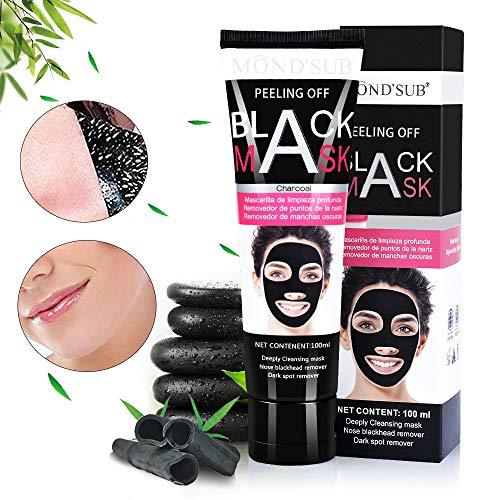 Aoral Mascarilla Negra 110 gramos Mascarilla Facial Para Puntos Negros Black Mask Exfoliante Facial de Carbón Activado de Bambú Elimina Puntos Negros y Espinillas Exfoliante Peel Off (Negro)