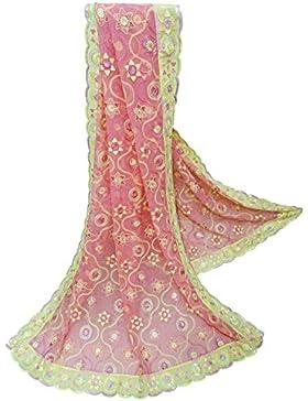 Indio Étnico Dupatta Georgette Tela Mujeres Diseñador Mantón Rosa Bollywood Vendimia Larga Estola