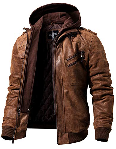 FLAVOR Men's Real Leather Jacket with Removable Hood Brown Genuine Leather (Brown, XXX-Large)