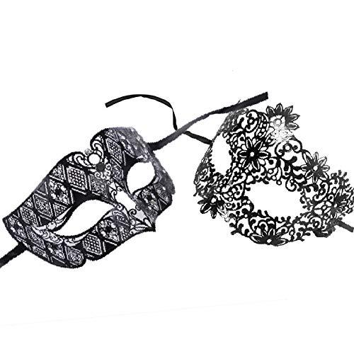 Lady of luck veneziana maschere metallo maschera regina stile fancy sexy veneziana per masquerade costume party,halloween carnevale¡ (maschera di coppia)