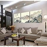 Lienzo-3 Gallery juego de arte Oriental horizontal de pintura de cuadro de pared con diseño de cuadros en lienzo, con marco, listo para colgar, todas las imágenes en tamaño grande, madera de marcos #14-174